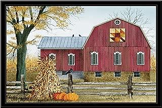 Trendy Decor4U Autumn Leaf Quilt Block Barn by Billy Jacobs Printed Wall Art, 38 Inch x 26 Inch, Black Frame