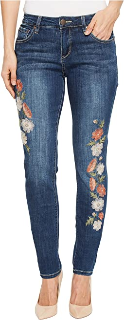 Sheridan Skinny Jeans w/ Embroidery in Thorne Blue