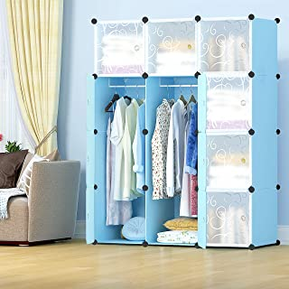 Lukzer 12 Cube Portable Waterproof Wardrobe Storage Rack Closet for Hanging Clothes/Bedroom Storage Cabinet Organizer for Books, Toys, Towels 140 x 105 x 35cm (Blue &White)