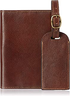 Tony Perotti Leather Passport Case Holder and Luggage Tag Combo Gift Set Brown