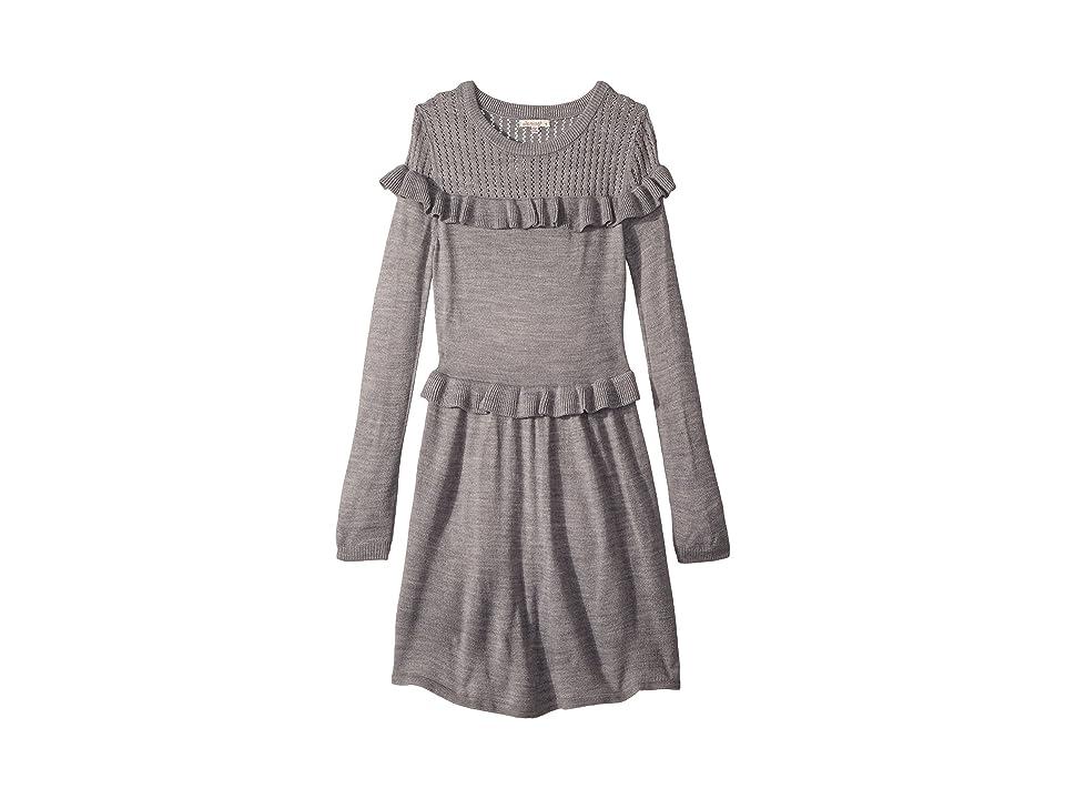 Ella Moss Girl Ruffle Sweater Dress (Big Kids) (Marled Grey) Girl
