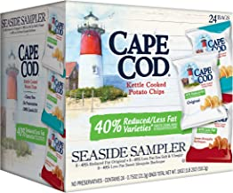 Cape Cod Potato Chips, Reduced Fat Kettle Cooked, Seaside Sampler (24 Count) Variety Pack