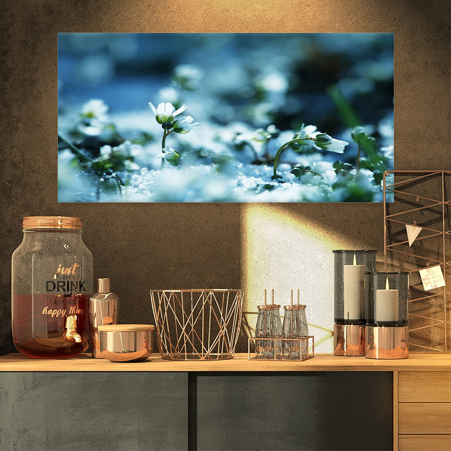 Designart White Flowers on bluee Background Floral on Canvas Art Wall Photgraphy Artwork Print