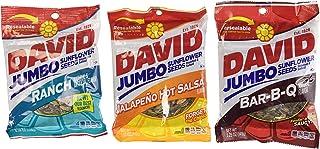 David Sunflower Seeds 5.25 oz Variety Pack (Pack of 6) 2 Bags of David Sunflower Seeds BBQ Natural Flavor + 2 Bags of David Sunflower Seeds Ranch Flavor + 2 Bags of David Sunflower Seeds Jalapeno Hot Salsa Flavor