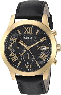 GUESS  Classic Black Genuine Leather Chronograph Watch with Date. Color: Black (Model: U0669G4)