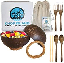 Chop Island 10pcs Set Coconut Bowls w/ Acacia Spoon-Forks-Bamboo Straws-Rope Stands Acai Bowls Organic Eco-Friendly Coconu...