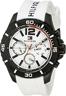 Tommy Hilfiger Men's White Dial Silicone Band Watch - 1791146