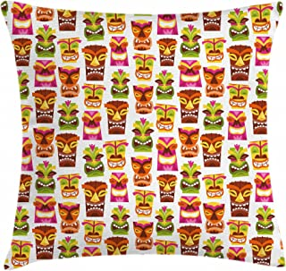 Ambesonne Tiki Bar Throw Pillow Cushion Cover, Sixties Retro Inspired Hawaiian Party Happy Tiki Pattern Colorful, Decorative Square Accent Pillow Case, 20