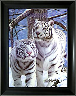 Lee's Collection Holographic 14.5 inches x 18.5 inches White Tigers 3D Animated Picture with Black Frame