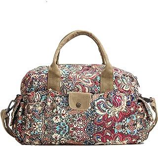 Beuniclo Handtasche mit Blumenmuster für Damen, Segeltuch, lässig, Wochenend-Reisetasche, Bohemia
