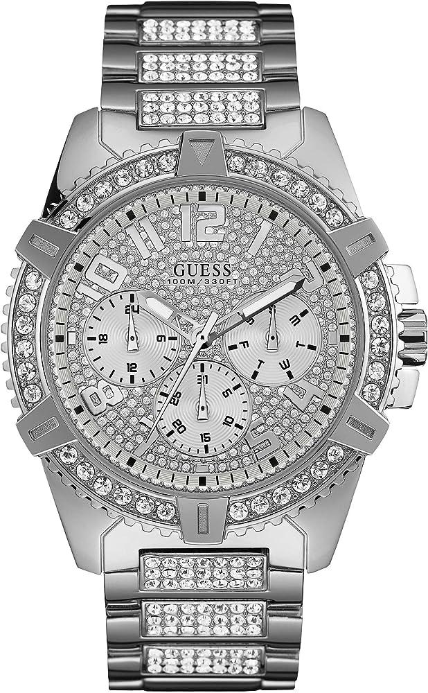 Guess frontier, orologio per uomo ,in acciaio inossidabile e cristalli W0799G1