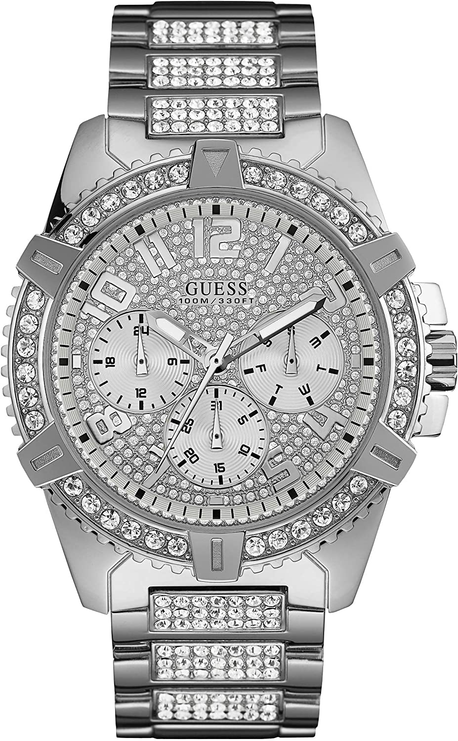 Guess Frontier Quartz Crystal Silver 人気ブレゼント! Dial W0799G1 Men's バーゲンセール Watch