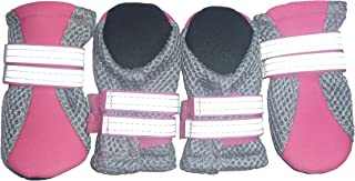 LONSUNEER Puppy Daily Soft Sole Nonslip Mesh Boots 2 Long Safe Reflective Straps Breathable Set of 4
