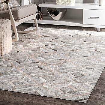 nuLOOM 200TXAL02A-8010 Cowhide Chanda Area Rug, 8' x 10', Grey, Gray