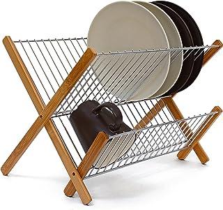 abtropfgestell Relaxdays Abtropfgestell CROSS, zum Klappen, für Teller, Tassen, Bambus, Metall, Abtropfständer, 27 x 38 x 29 cm, natur