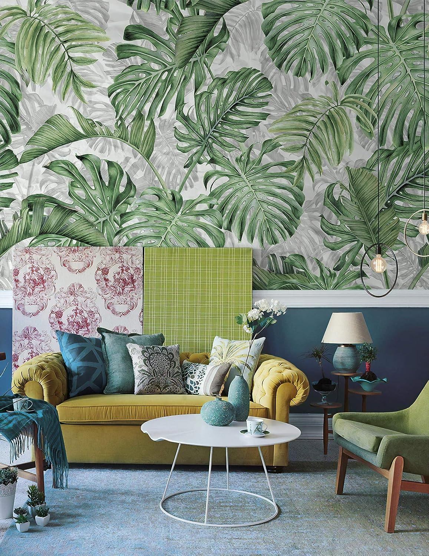 Buy Murwall Leaf Wallpaper Palm Leaves Wall Mural Vintage Leaf Pattern Wall Print Tropical Home Decor Cafe Design Online In Taiwan B07nj99m8j