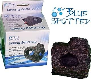 Blue Spotted Betta Log Fish Ornament for Betta Fish, Tropical Fish Aquariums & Saltwater Fish Aquariums, by