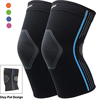 Premium Compression Knee Sleeve Plus Size Knee Brace Crossfit Stay-Put Breathable for Running Basketball Squats Weightlifting Arthritis and Meniscus Tear - 4 Colors (Blue, XL 2-Pack)