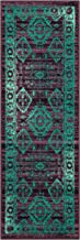 Maples Rugs Runner Rug, [Made in USA][Georgina] 2' x 6' Non Slip Hallway Entry Area Rug for Living Room, Bedroom, and Kitchen - Wineberry/Teal