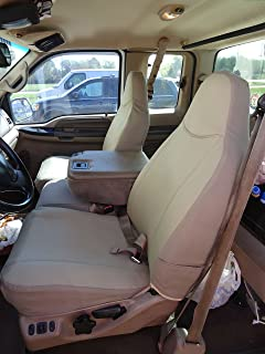 Durafit Seat Covers, F238-X3, 1999-2007 Ford F250-F550 Base Model Only, Front 40/20/40 Split Seat Covers with Pointed Molded Headrests & Opening Console, Coin Holder in The Console Tan Twill Fabric.