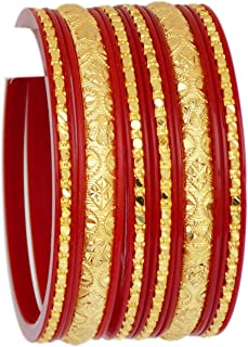 JD'Z COLLECTION Indian Ethnic Bollywood Gold Plated Bangles Jewelry Bracelet 6pc Bangles Set Bracelet Ethnic Bangles Red Partywear Bangles Set