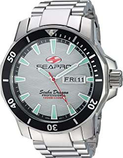 Seapro Men's Scuba Dragon Quartz Watch with Stainless-Steel Strap, Silver, 23.5 (Model: SP8312S)