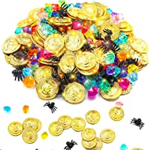 220 Pieces Pirate Gold Coins and Gem Jewelry Set, Including 100 Pirate Gold Coins with 100 Gem and 20 Mini Black Spider To...
