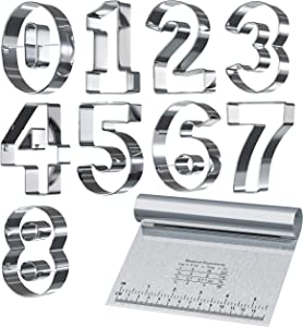 Bakerpan Stainless Steel Cookie Cutter Number Shapes Set 3 1/2 Inch with Bonus Dough Cutter