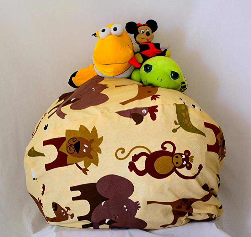 MSB Kid S Stuffed Animal Storage Bean Bag Chair Giant Bean Bag Chair For Kids Available In 3 Patterns Cream 27