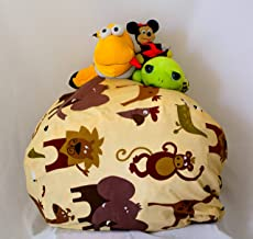 """MSB Kid's Stuffed Animal Storage Bean Bag Chair - Giant Bean Bag Chair for Kids Available in 3 Patterns (Cream, 27"""")"""