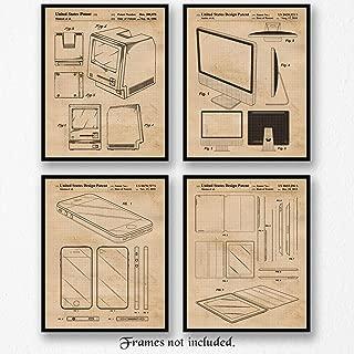 Original Apple Mac Products Patent Poster Prints, Set of 4 (8x10) Unframed Photos, Great Wall Art Decor Gifts Under 20 for Home, Office, Man Cave, Student, Teacher, Smart Computer & Steve Jobs Fan
