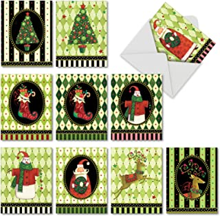 Harlequin Holidays - Set of 10 Merry Christmas Note Cards with Envelopes (4 x 5.12 Inch) - Cute Xmas Stockings, Tree, Reindeer, Santa - Notecard Set Assortment for Christmas AM6442XSG-B1x10