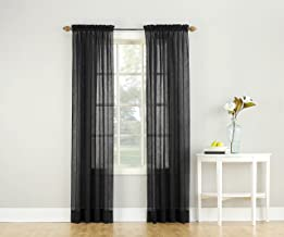 "No. 918 Erica Crushed Texture Sheer Voile Rod Pocket Curtain Panel, 51"" x 63"", Black"