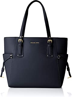 Voyager Textured Crossgrain Leather Tote- Admiral