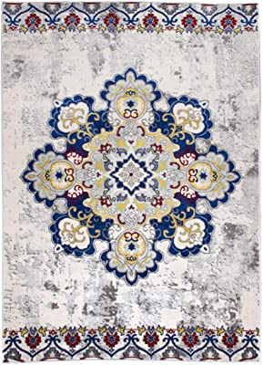 3 x 5 Modern/Traditional Vintage Boho Distressed Area Rug for Living Rooms and Open Spaces Overdyed Ivory