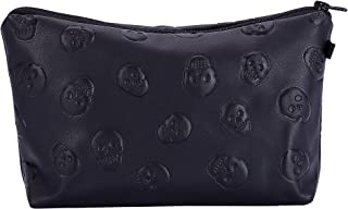 HOYOFO Stylish Makeup Pouch Portable Cosmetic Bag Purse, Black Skull