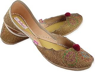 Fulkari Women's Zarri Cutwork Genuine Soft Leather Jutis | Bite and Pinch Free Jutis | Punjabi Jutti for Ladies Flat Mojari | Bridal Ethnic Flats for Girls |