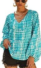 ECOWISH Women's Casual Tops Summer V-Neck Lantern Long Sleeve Shirt Print Loose Blouses