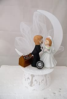 Wedding Reception Kissing Couple Garage Mechanic tool grease Cake Topper