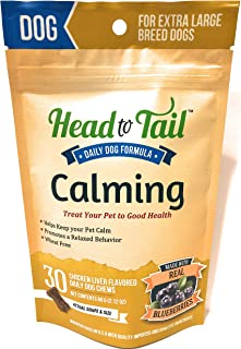 Head to Tail Calming Chews, Chicken Liver Blueberry Flavor, Extra Large Dogs Over 75lb, Wheat Free, 30 Chew Packet