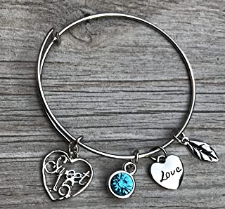 Personalized Sweet 16 Charm Bangle Bracelet with Birthstone, Custom Sweet Sixteen Jewelry Birthday Gift For Girls