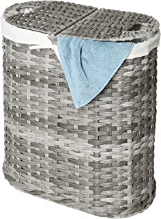 Seville Classics Handwoven Oval Double Laundry Hamper, Original 18-Inch, Gray