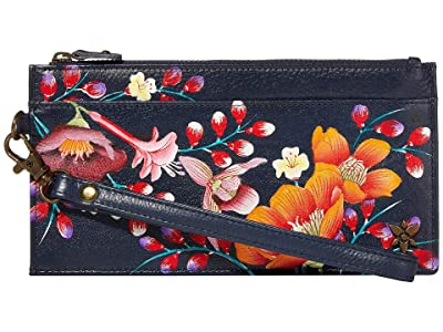 Anuschka Handbags Organizer Credit Card Wristlet Wallet 1151 (Moonlit Meadow) Bags
