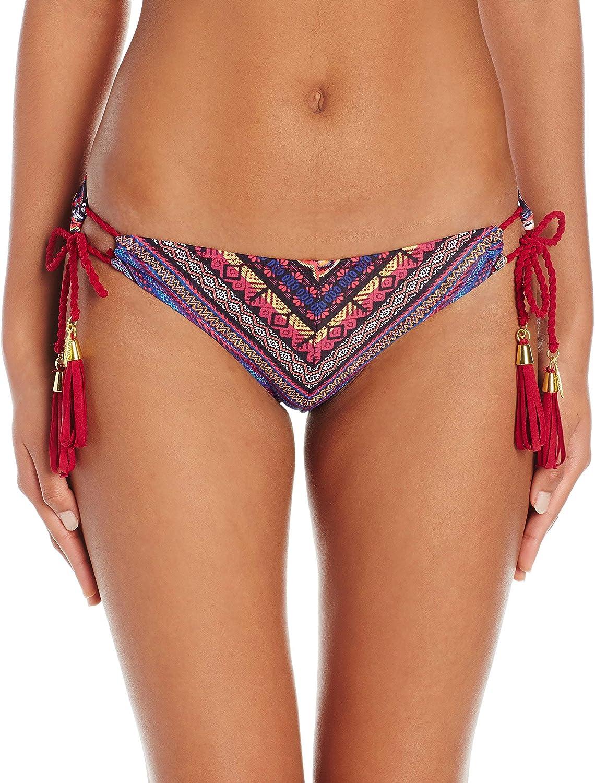 Jessica Simpson Women's Cherokee Queen Mitered Side Tie Hipster Tassel Bikini Bottom