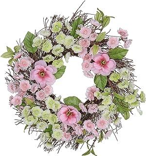 V&M Valery Madelyn リース 玄関 春桜 大 春分の日 壁掛け ドア飾り プレゼント ギフト フェイクグリーン 造花 見舞い用