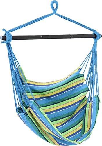 popular Sunnydaze wholesale Hanging Rope Hammock Chair Swing with Collapsible Bar - Hanging Chair Seat for sale Backyard & Patio - 265-Pound Weight Capacity - Ocean Breeze online sale