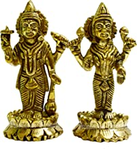 Lord Vishnu and Laksmi MATA Standing Brass Idol on Lotus Base: Height= 14 cm- VRINDAVANBAZAAR.COM