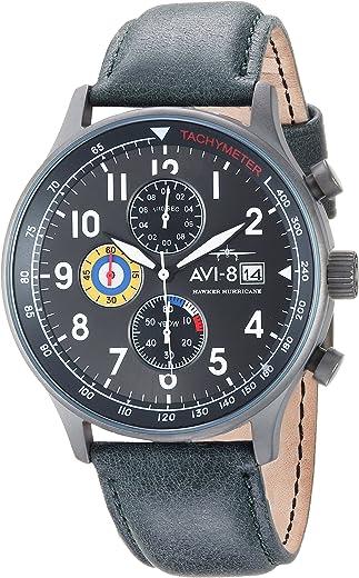 ساعة كوارتز يابانية للرجال AVI-8 AV-4011 Hawker Hurricane ذات عرض تناظري مع حزام من الجلد