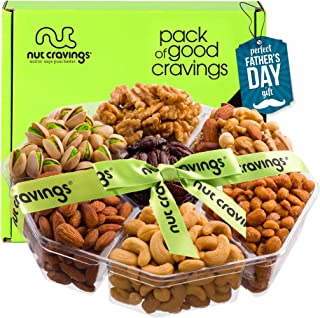 Fathers Day Nut Gift Basket + Green Ribbon (7 Piece Assortment, 2 LB) - Prime Arrangement Platter, Birthday Care Package V...