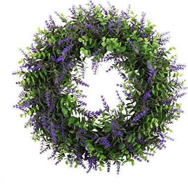 """Cekene 16"""" Artificial Lavender with Eucalyptus Spring Door Wreath Faux Flower Green Wreath for Front Door Farmhouse Home Window Wall Decorations"""